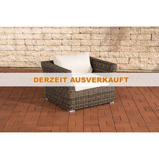 CLP Polyrattan Sessel MANDAL mit GRATIS Sitz- und Rückenkissen, 5mm Rundrattan, ALU Gestell, 100% rostfrei