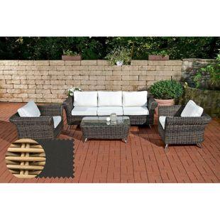 CLP Gartengarnitur VIVARI aus Polyrattan | Robuste Gartengarnitur mit Aluminiumgestell | 4 teiliges Garten-Set | In verschiedenen Farben erhältlich