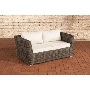 CLP Poly-Rattan 2er Sofa Mandal mit 2 Sitzplätzen I Gartensofa mit Aluminium-Gestell I Loungesofa mit Polsterkissen I 5mm Rattandicke