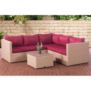 CLP Polyrattan Lounge-Set LIBERI mit 5 Sitzplätzen l Garnitur mit Aluminium-Gestell l Garten-Set: 3er Sofa + 2er Sofa + Tisch