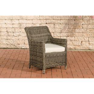 CLP Polyrattan-Sessel SANDNES inklusive Sitzkissen I Robuster Gartenstuhl mit einem Untergestell aus Aluminium