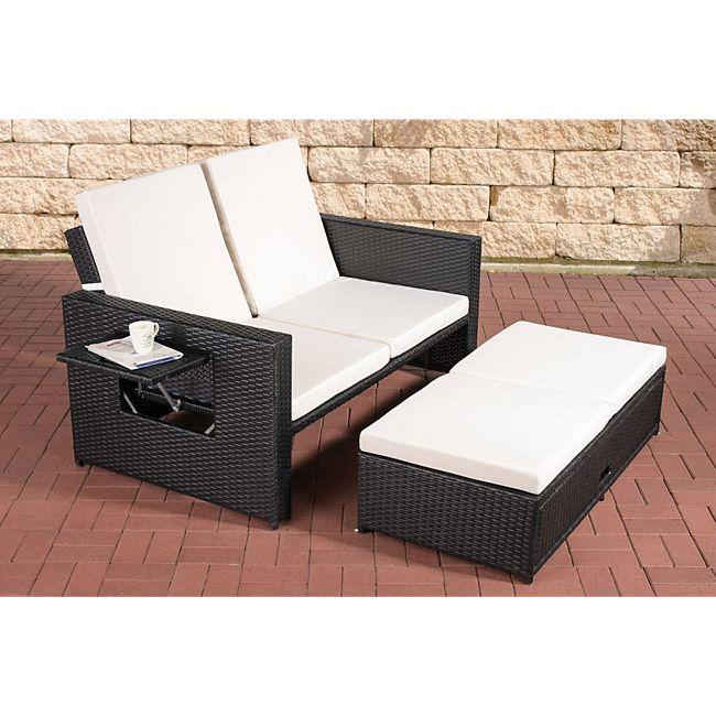 CLP Polyrattan 2er Loungesofa ANCONA I Flachrattan Garten-Sofa mit  ausziehbarem Fußteil und verstellbarer Rückenlehne