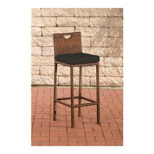 CLP Outdoor Barhocker MARI mit Sitzkissen I Polyrattan Tresenstuhl mit Fußstütze I In verschiedenen Farben erhältlich