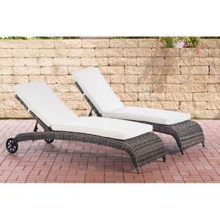 CLP 2x Polyrattan-Sonnenliege ASTI I Wellnessliege mit Laufrollen I Sonnenliege mit verstellbarer Rückenlehne I In verschiedenen Farben erhältlich