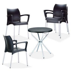 CLP Terrassen-Sitzgruppe GOYA  I 4 stapelbare Gartenstühle DOLCE und 1 runder Gartentisch  I Wetterfestes Gartenmöbel-Set I In verschiedenen Farben erhältlich