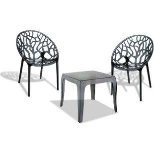 CLP Outdoor-Sitzgruppe ARENDAL | 2 stapelbare Stühle und 1 stapelbarer Tisch | Gartenmöbel aus pflegeleichtem Kunststoff | In verschiedenen Farben erhältlich