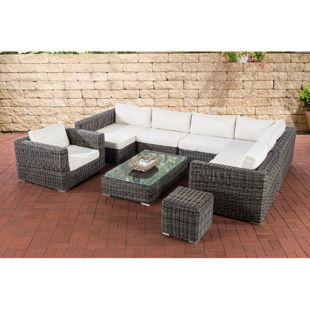 CLP Gartenmöbelset BARCELONA 5mm I Lounge Garnitur mit 8 Sitzplätzen I mit Gestell aus Aluminium I wetterfest