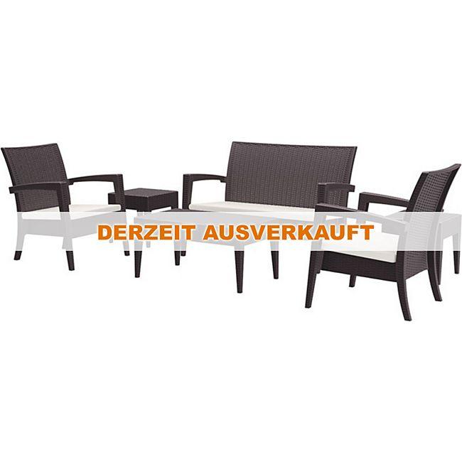 clp gartengarnitur miami i sitzgruppe mit einem 2er sofa 2 sesseln und einem loungetisch i. Black Bedroom Furniture Sets. Home Design Ideas