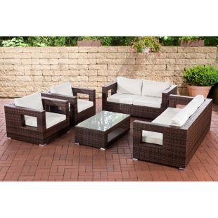 CLP Lounge-Set Honolulu I Sitzgruppe Mit 7 Sitzplätzen I Gartenmöbel-Set Aus Polyrattan
