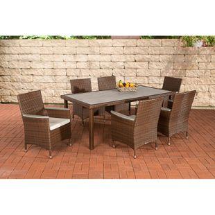 CLP Polyrattan-Sitzgruppe ALICANTE inklusive Polsterauflagen | Garten-Set bestehend aus einem Esstisch und sechs Stühlen | In verschiedenen Farben erhältlich