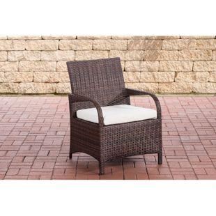 CLP Polyrattan-Gartenstuhl PIZZO mit Sitzkissen I Outdoor-Stuhl mit robustem Untergestell aus Aluminium