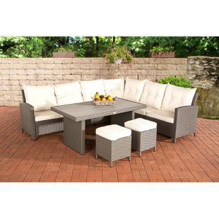 CLP Gartengarnitur VILATO bestehend aus: 1 Ecksofa, 2 Hockern und 1 Loungetisch I Sitzgruppe mit 9 Sitzplätzen I Gartenmöbel-Set aus Polyrattan