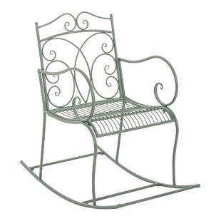CLP Eisen-Schaukelstuhl EDITH im Landhausstil I Schwingstuhl mit hoher Rückenlehne I In verschiedenen Farben erhältlich