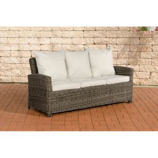 CLP Poly-Rattan 3er Sofa FISOLO aus Aluminium I Gartensofa für 3 Personen I Loungesofa mit Polsterkissen I 5mm Rattandicke