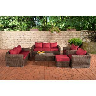 CLP Polyrattan-Lounge MADEIRA XL inkl. Polsterauflagen | Gartenmöbel-Set: ein 3er-Sofa, ein 2er-Sofa, zwei Sessel, ein Loungetisch und ein Hocker