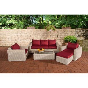 CLP Polyrattan Lounge MADEIRA inkl. Polsterauflagen | Gartenmöbel-Set: ein 3er-Sofa, zwei Sessel, ein Loungetisch und ein Hocker