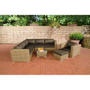 CLP Polyrattan Gartenlounge ARIANO inkl. Polsterauflagen | Garten-Set: ein Ecksofa, ein Sessel, ein Hocker und ein Loungetisch