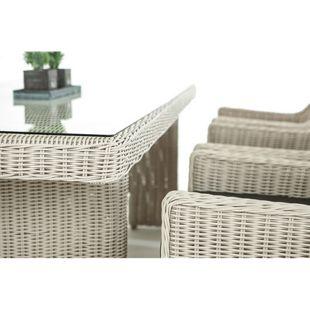 CLP Polyrattan Sitzgruppe SANDNES inkl. Polsterauflagen | Garten-Set: großer Esstisch mit Glasplatte und sechs Sessel
