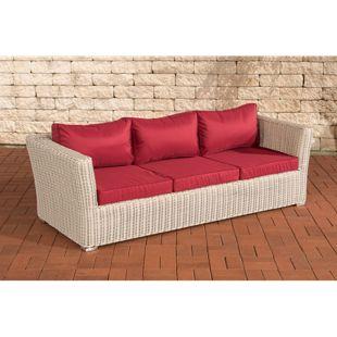 CLP Poly-Rattan 3er Sofa Mandal mit 3 Sitzplätzen I Gartensofa mit Aluminium-Gestell I Loungesofa mit Polsterkissen I 5mm Rattandicke