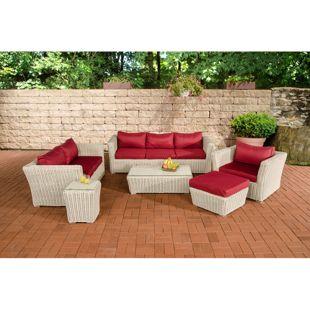 CLP Polyrattan Sitzgruppe MANDAL inkl. Polsterauflagen l Garten-Set: ein Loungetisch, ein 2er-Sofa, ein 3er-Sofa, ein Sessel, ein Fußhocker und ein Beistelltisch