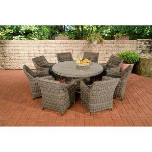 CLP Polyrattan Sitzgruppe GINOSA XL | Garten-Set: ein runder Esstisch mit Glasplatte und acht Stühle | In verschiedenen Farben erhältlich