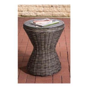 CLP Design Poly-Rattan Beistell-Tisch SANDINO, rund Ø 50 cm, Höhe ca. 60 cm, Sonnenliegen-Beistelltisch, Balkontisch mit Glasplatte aus 5 mm Sicherheitsglas