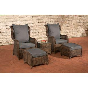 CLP Polyrattan Sitzgruppe TREVISO inkl. Polsterauflagen   Garten-Set: ein Beistelltisch, zwei Sessel und zwei Hocker   In verschiedenen Farben