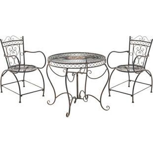 CLP Garten-Sitzgruppe SHEELA aus lackiertem Eisen   Garten-Set bestehend aus einem Eisentisch und zwei Eisenstühlen   Antike Gartenmöbel im Jugendstil   In verschiedenen Farben erhältlich