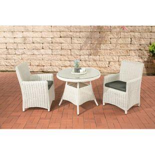 CLP Polyrattan Sitzgruppe QUITO inkl. Polsterauflagen | Garten-Set: ein Beistelltisch mit Glasplatte und zwei Sesseln | In verschiedenen Farben erhältlich