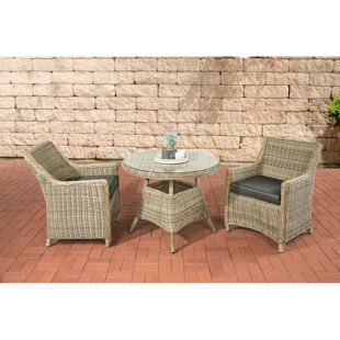 CLP Polyrattan Sitzgruppe AMBATO inkl. Polsterauflagen | Garten-Set: ein Beistelltisch mit pflegeleichter Glasplatte und zwei Sessel | In verschiedenen Farben erhältlich