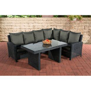CLP Polyrattan Gartengarnitur MINARI | Sitzgruppe mit 6 Sitzplätzen | Pflegeleichte Gartenmöbel mit Aluminium-Gestell
