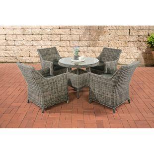 CLP Polyrattan Sitzgruppe TORTOSA inkl. Polsterauflagen | Garten-Set: ein Esstisch mit Glasplatte und vier Sessel | In verschiedenen Farben erhältlich