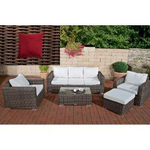 CLP Polyrattan Gartengarnitur Bilbao Big Inklusive Polsterauflagen I 1 Sofa & 2 Sessel & 1 Loungetisch & 1 Fußhocker I 5 mm Rattandicke