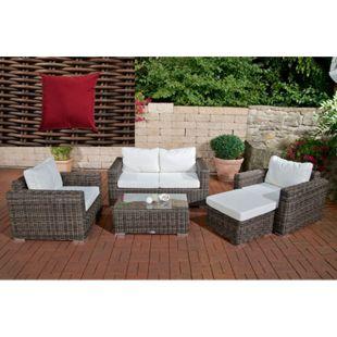 CLP Polyrattan Gartengarnitur Bilbao Inklusive Polsterauflagen I 1 Sofa & 2 Sessel & 1 Loungetisch & 1 Fußhocker I 5 mm Rattandicke