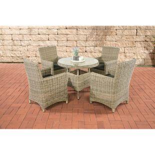 CLP Polyrattan Sitzgruppe CASOLI mit Polsterauflagen | Garten-Set: ein Esstisch und vier Gartenstühle | In verschiedenen Farben erhältlich