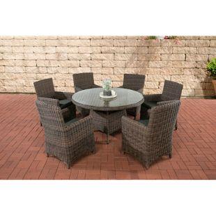 CLP Polyrattan Sitzgruppe LARINO mit Polsterauflagen | Garten-Set: ein Esstisch und 6 Gartenstühle | In verschiedenen Farben erhältlich