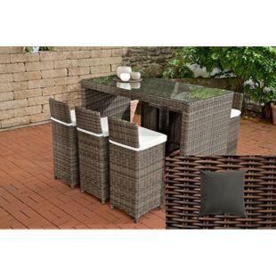 CLP Gartenbar-Set LENOX 5mm aus Polyrattan | Gartenmöbel-Set: 6 Barhocker inkl. 6 Sitzkissen und ein Bartisch | In verschiedenen Farben erhältlich
