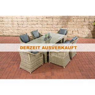 CLP Polyrattan Gartengarnitur LAVELLO I Sitzgruppe mit 6 Sitzplätzen I Pflegeleichte Gartenmöbel mit Aluminium-Gestell