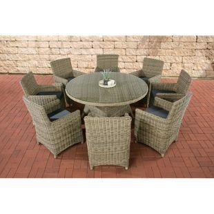CLP Gartengarnitur LARINO XL | Gartenmöbel-Set aus Polyrattan und mit Aluminium-Gestell | In verschiedenen Farben erhältlich