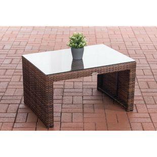 CLP Poly-Rattan Garten Lounge-Tisch CASABLANCA ca. 85 x 60 cm I Höhe: 50 cm I Glasplatte 5 mm Sicherheitsglas I 1,25mm Rattandicke