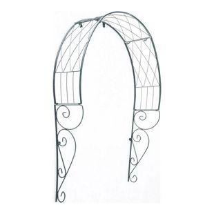 CLP Metall-Rosenbogen für die Tür I Rankbogen mit dunkelgrüner Beschichtung I Rankhilfe für Kletterpflanzen I Verzierter Torbogen im Landhausstil