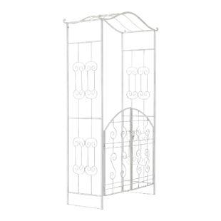 CLP Eisen-Rosenbogen ASTIA mit Eingangspforte I Torbogen mit stilvollen Verzierungen I Rankhilfe im Landhausstil I In verschiedenen Farben erhältlich