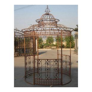 CLP Garten-Pavillon CROWN, Pavillion mit Seitenwänden, rund Ø 2 Meter, Höhe 340 cm, stabiles Eisen (Metall), stilvolles Design