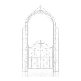 CLP Eisen-Rosenbogen Grenada mit Eingangspforte I Torbogen mit stilvollen Verzierungen I Rankhilfe im Landhausstil I In verschiedenen Farben erhältlich