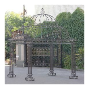 CLP Garten Pavillon PALAIS l Runder Rankpavillon Ø 370 cm, Höhe 440 cm l Stabiles Eisen (Metall) Pavillion im schlichten und stilvollen Design