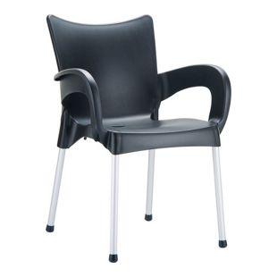 CLP XXL-Bistrostuhl ROMEO mit Armlehnen I Gartenstuhl mit einer max. Belastbarkeit von 160 kg I Stapelstuhl mit Aluminiumgestell und Kunststoffsitz I In verschiedenen Farben erhältlich