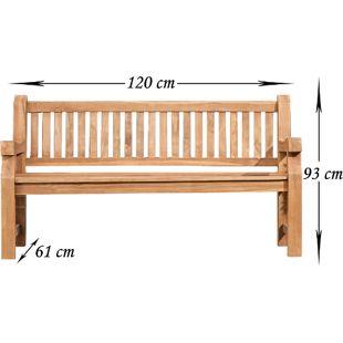 CLP Wetterfeste Gartenbank JACKSON V2 aus massivem Teakholz | Holzbank mit ergonomischer Sitzfläche | In verschiedenen Größen erhältlich