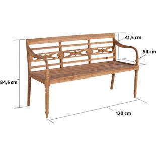 CLP Teakholz-Gartenbank MARYLAND V2 mit Lehne I Holzbank für den Garten I Sitzbank mit Armlehnen I In verschiedenen Größen wählbar