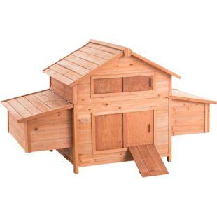 CLP Holz-Hühnerkäfig mit zwei Nistkästen I Hühnerhaus aus Tannenholz I Pflegeleichter Hühnerstall mit Holzrampe I Legebox mit ausziehbarem Auffangbecken
