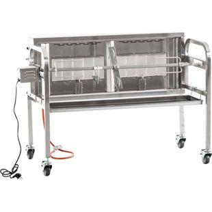 CLP Edelstahl Spanferkel-Grill MADOC mit Motor | inkl. Abdeckhaube | 2 gasbetriebene Grillflächen | Belastbarkeit bis 50 kg